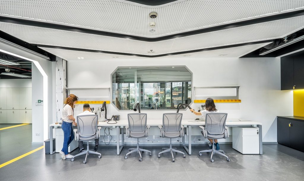 a specialized laboratory of Axon's office design