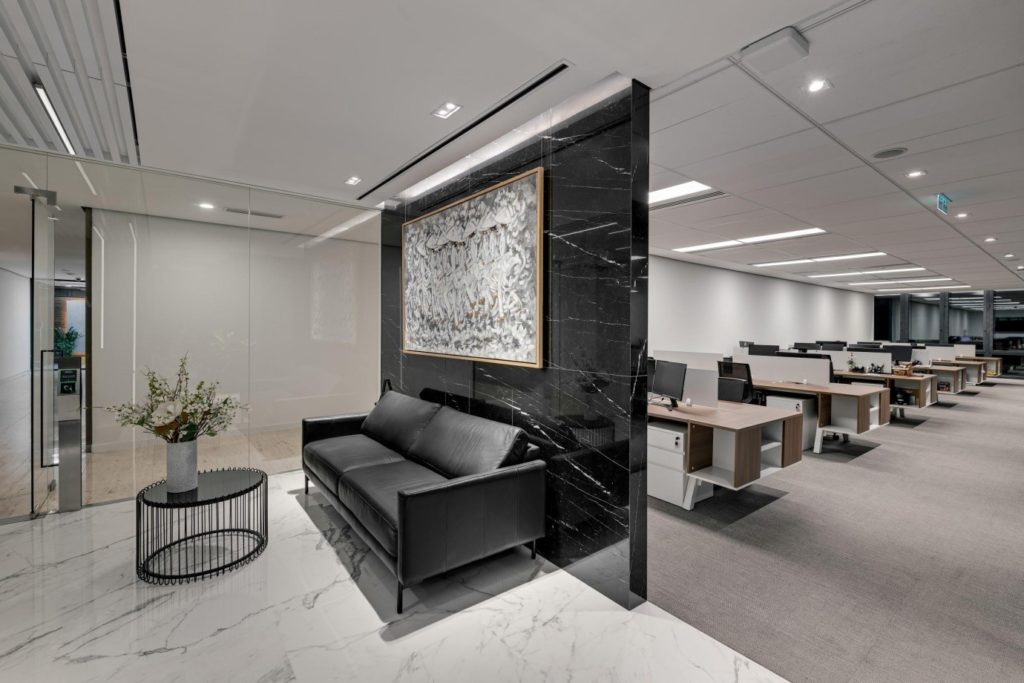 Square shapes and sharp lines in office design