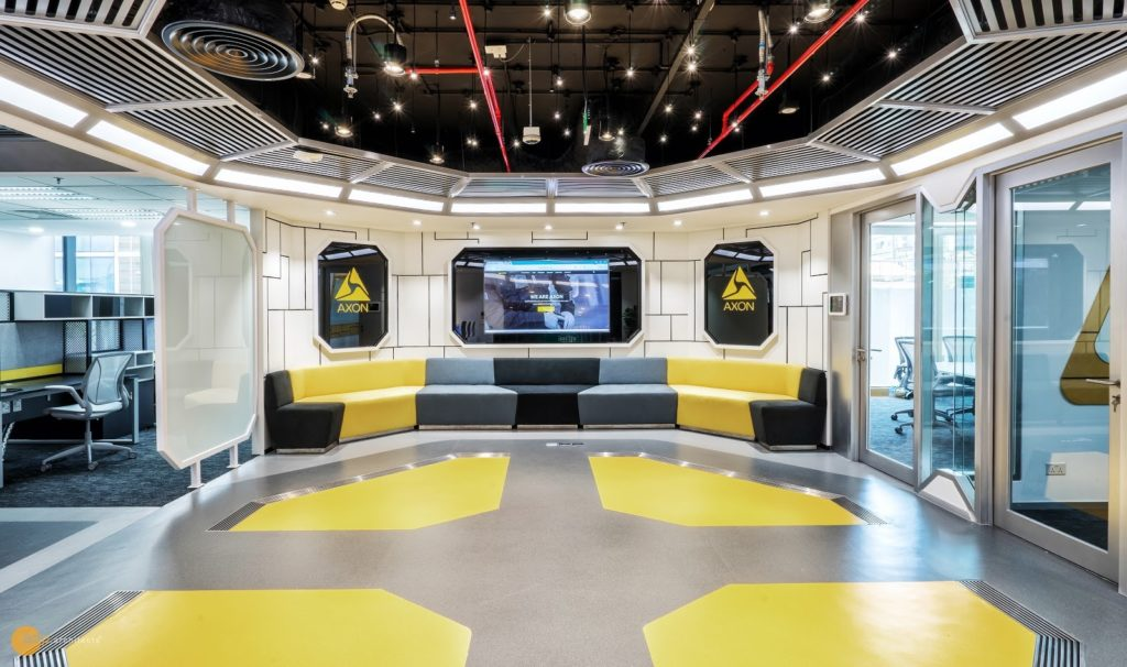 Axon office is conceptualized from a spacecraft